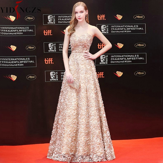 YIDINGZS Fashion Sweetheart Khaki Lace Prom Dress Simple Party Formal Prom Gown With Tail 4
