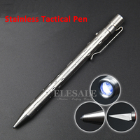 New Stainless Steel Tactical Pen With Led Light Knife For Self Defense Weapon Glass Breaker EDC