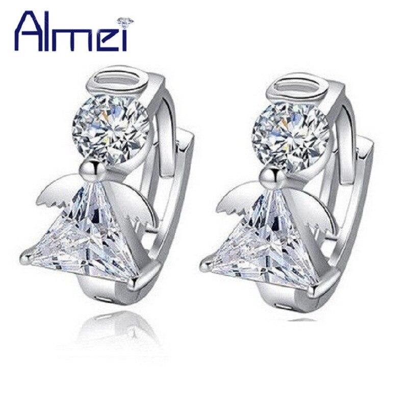 Almei 30% Off 2017 Silver Color Crystal Jewelery Hoop Angel Fairies Earrings Clips For Women Female Earring Bijouterie DML51