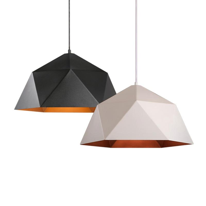 Modern Simple Iron Art Pendant Lights Loft Pendant Lights Industrial Decor Hanging Lamp Geometric Kitchen Black Home Lighting