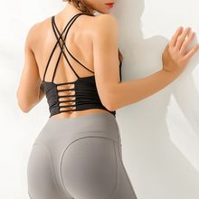 Open Back Crop Top Sexy Cross Design Sleeveless Dancing Workout Off Shoulder Sport Tank For Women Gym