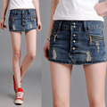 2016 New Fashion Summer Casual Woman's Ripped Button Fly Hole Denim Skirt Shorts , Female Ladies Elastic Jeans Short Jeans