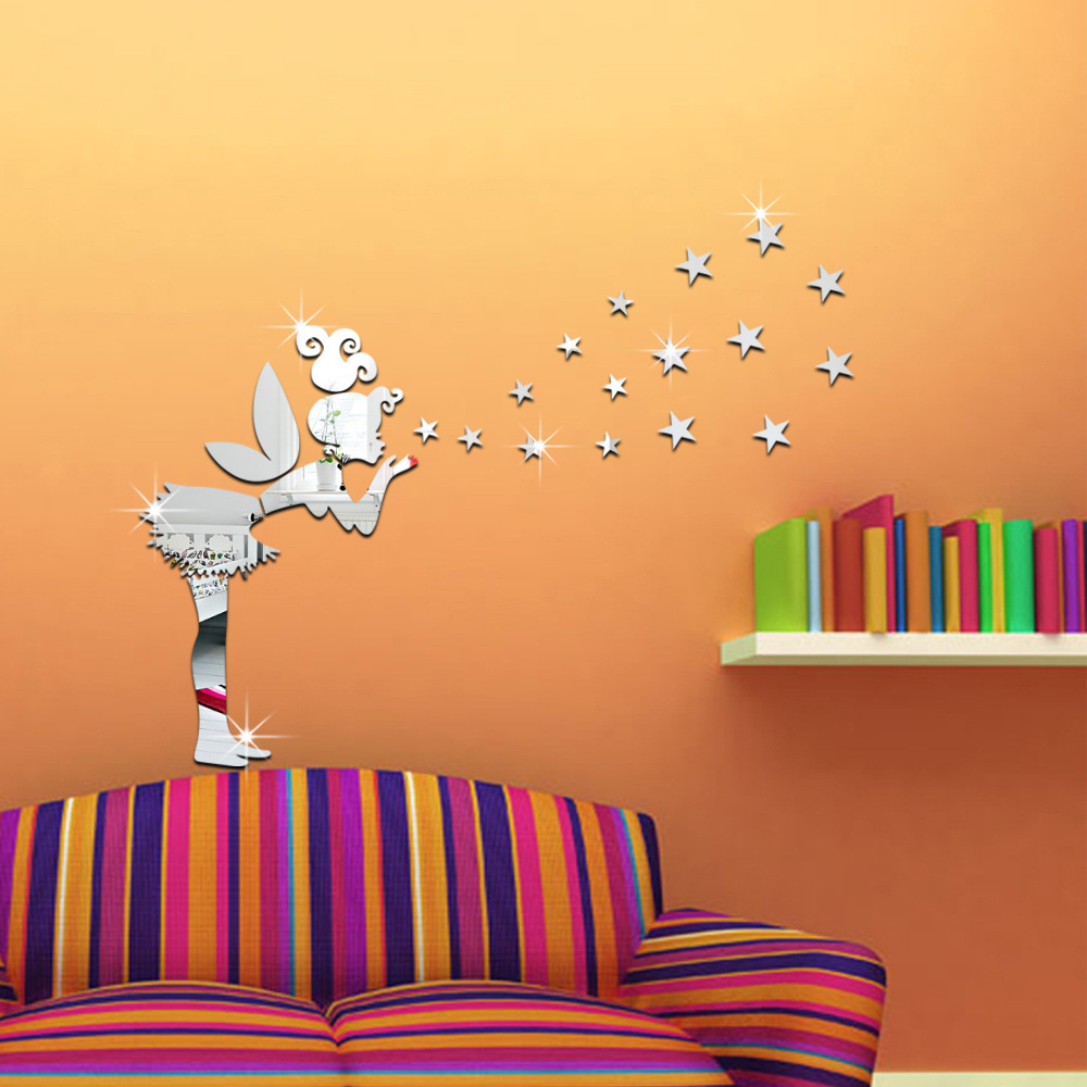 DIY Ange Fée Magique Étoiles 3D Miroir Sticker Mural Enfants Chambre Décoration Cadeau Creative Petite Fille Wall Sticker home decor