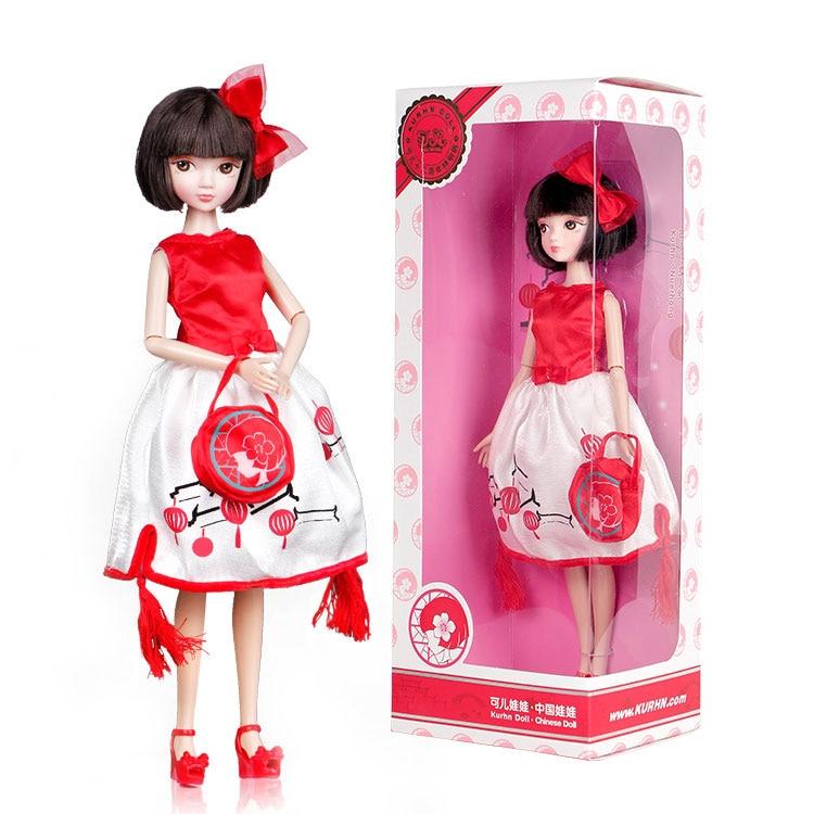 New Bowknot Red Porcelain Dress Kurhn Doll Anniversary Fashion Dolls Girls Toys Children Christmas Kids Gift bonecas jouet fille
