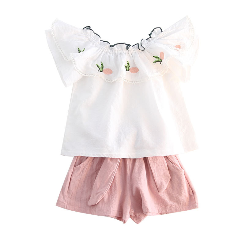 цена на children's casual embroidery ruffled cotton and linen short-sleeved doll shirt and shorts two-piece