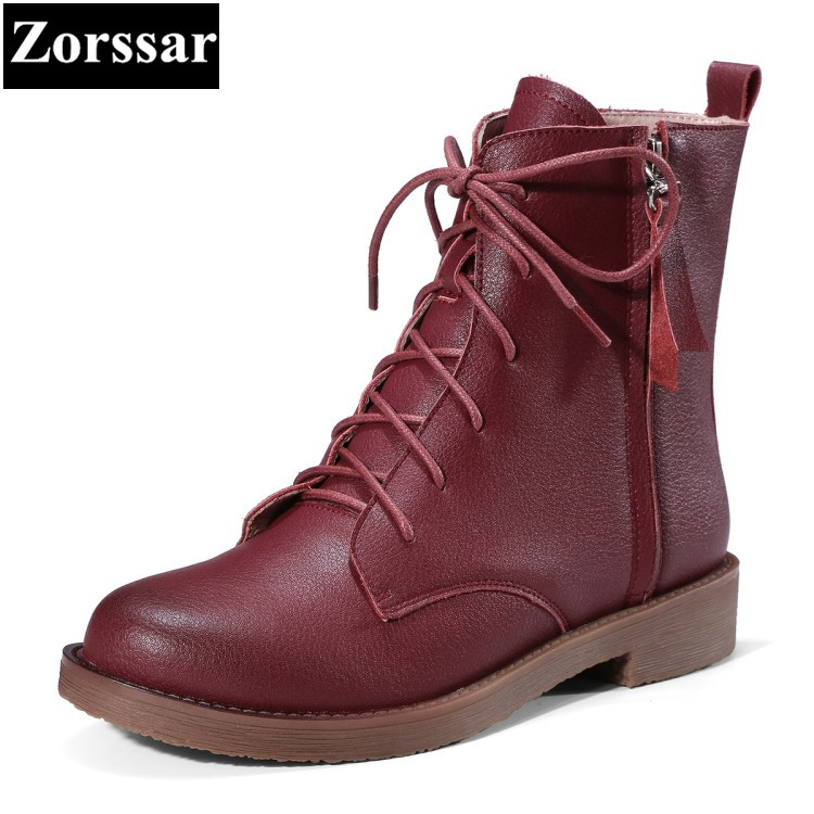 {Zorssar} 2017 NEW Casual lace-up Genuine leather Flat heel ankle Boots flats women Martin boots Spring autumn women shoes genuine leather mens oxford shoes breathable men flats casual martin boots shoes 2017 spring autumn summer lace up unisex shoe