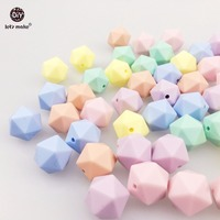 Let's Make Silicone Multi-faceted Beads 50PC 14mm Candy Color Beads Baby Teether Toy DIY Nursing Necklace Silicone Beads