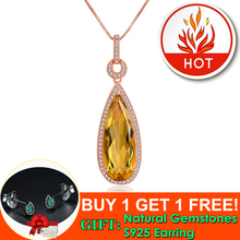 Lamoon Luxury Natural TearDrop Citrine 925 Sterling Silver Chain Pendant Necklace Women Jewelry Rose Gold Plated S925 LMNI042