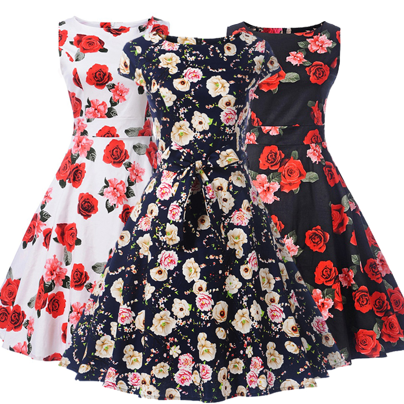 Teenagers Retro Dress Audrey Hepburn Floral 50s 60s Rockabilly Party Prom Cocktail Tea Party Ladie Dress Female Matching Belt pinup rockabilly special retro atmosphere beautiful generous banquet hoop rabbit ear