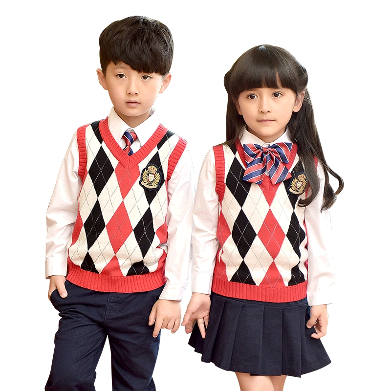 Children Uniforms 2018 Fashion Student School Uniforms Set Tops Girls Boys Sweater Vest Shirt Skirt Pants Tie Sets 2-10T