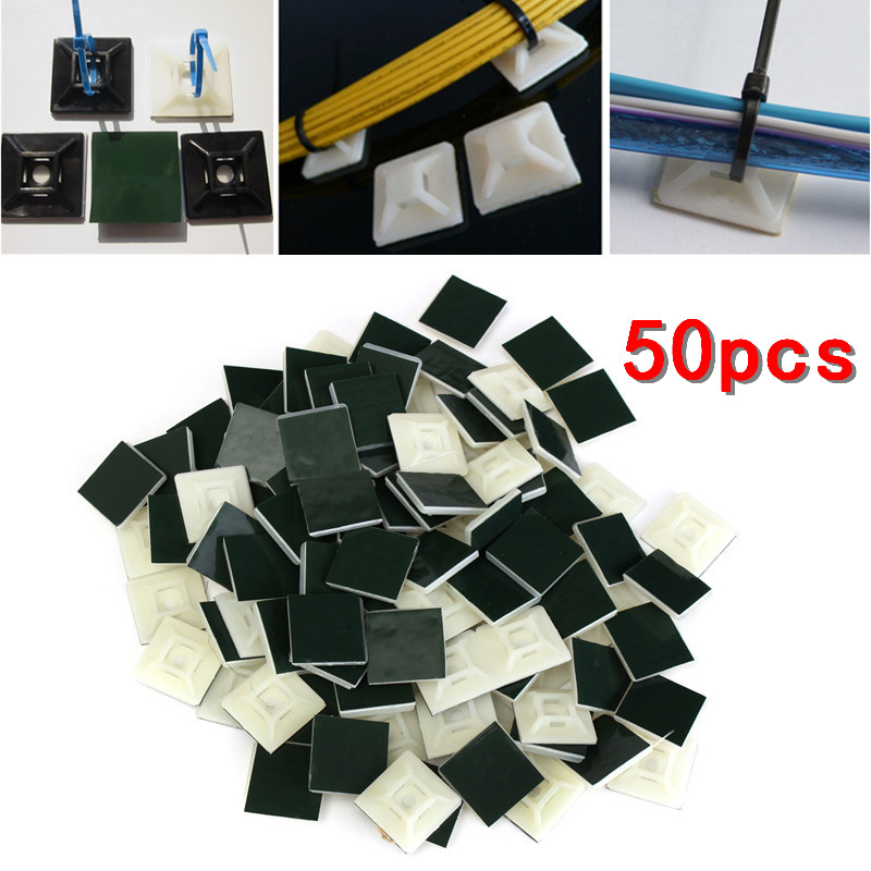 50pcs Black White Self Adhesive Stick-on Mounts for Cable Ties / Routing Looms Wire & Cable Base Clamps Clip