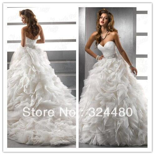 Free shipping organza ruffle wedding dress 2013 hot sale for Wedding dress free shipping