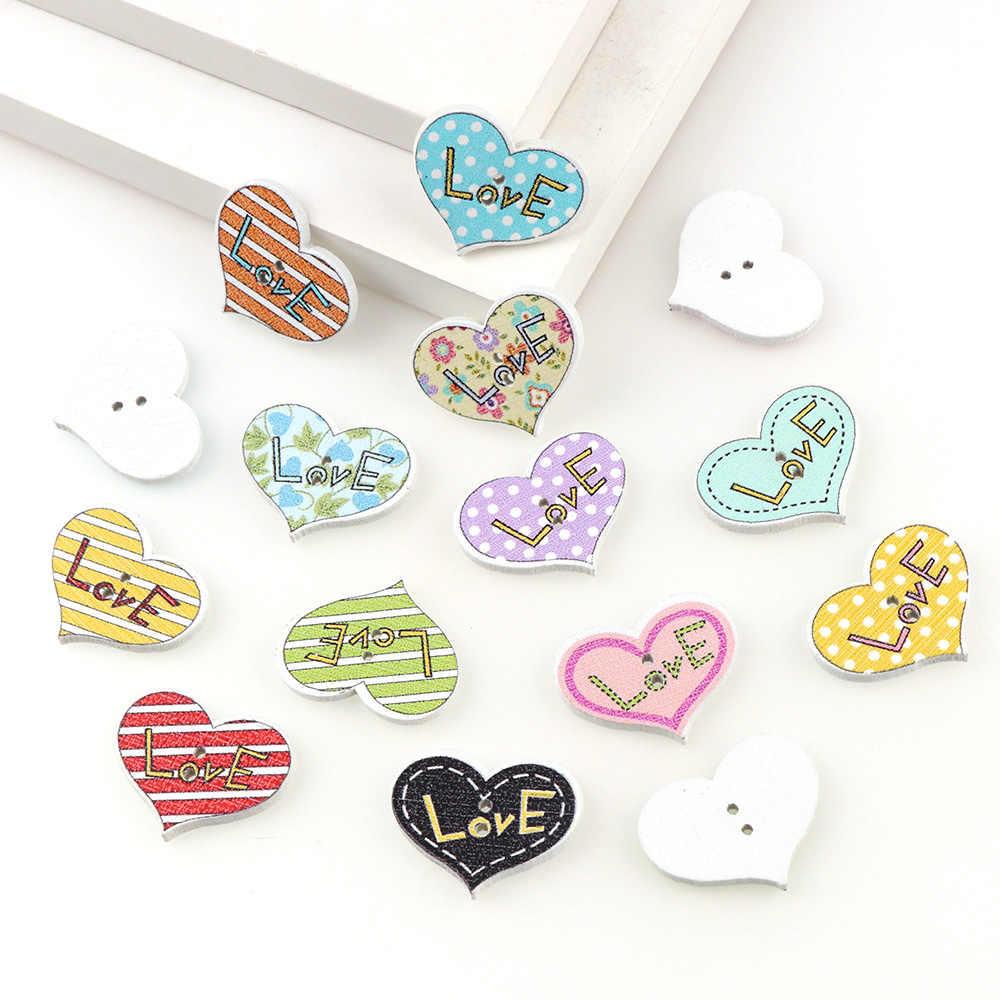 50PC 20x25mm mieszane kolor 2 otwory ozdobne guziki miłość kształt serca zwierzęta kreskówkowe drewniane guziki szycia Scrapbooking