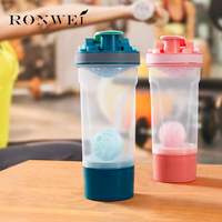 780ML Protein Shaker Bottle With Mixball And 200cc Storage Jar Blender Bottle Fitness Gym Shaker Bottle