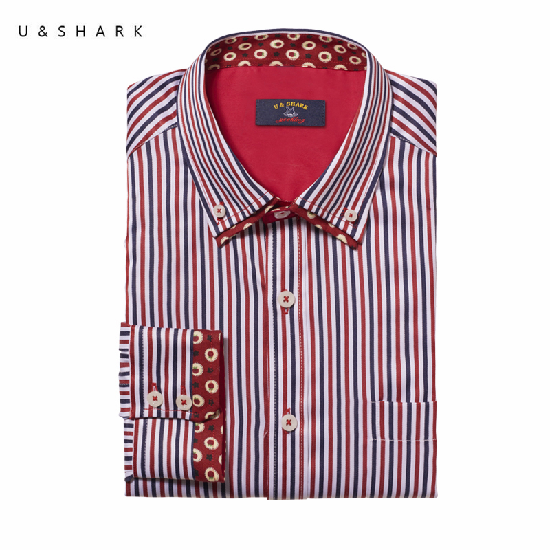 U&SHARK 2018 Summer Red Stripe Shirt Long Sleeve Men Brand Clothing Business Mens Dress  ...