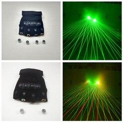 1 sztuk czerwone rękawice z zielonym laserem scena taneczna oświetlenie sceniczne z 4 sztuk laserów i LED Palm light dla DJ Club/Party/bary