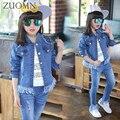 Kids Tracksuit Pants Denim Sport Suit Girls Outfits Children Sports Suit Kids Denim Coat + Jeans 2 pcs Girl Denim Suits YL565
