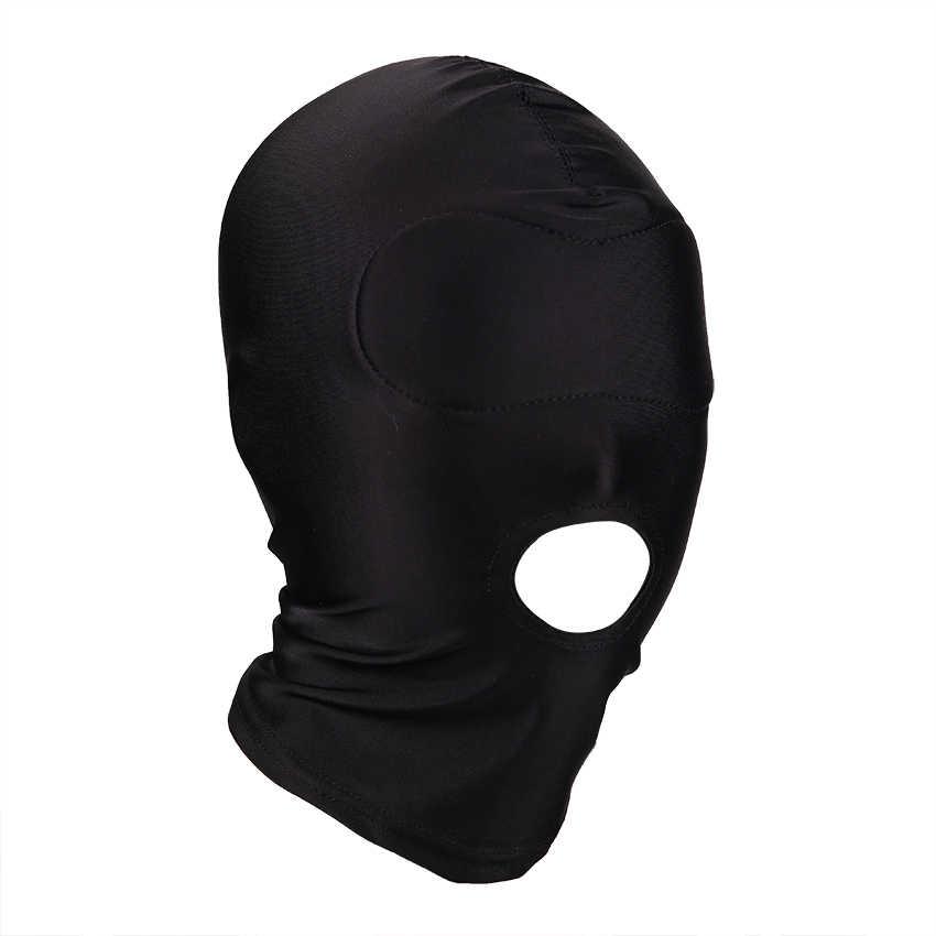 Фетиш маска сексуальные игрушки открытый рот Глаза Связывание капюшон маска для маскрадной внчеринки раб головной убор маска секс игры для взрослых Продукты 4 стиля