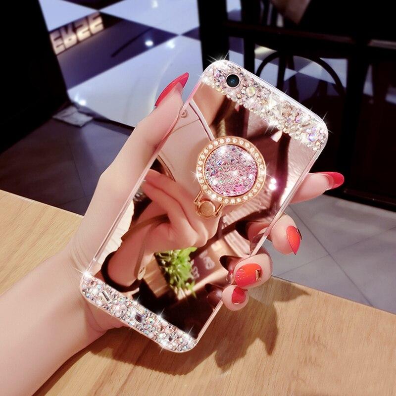 Diamond Soft TPU Crystal Rhinestone Glitter Mirror Samsung Galaxy S9 S8 S6 S7 Edge Girls With Ring Holder Stand