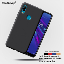 For Huawei Y6 2019 Cover Case Matte TPU Soft Coque Fundas Back Phone