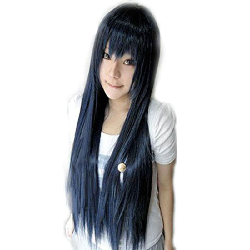 80cm Umi Dark Blue Natural Long Straight Hyuga Hinata Kuga Kyosuke Vocaloid Synthetic Cosplay Wig With Bangs +Wig Cap