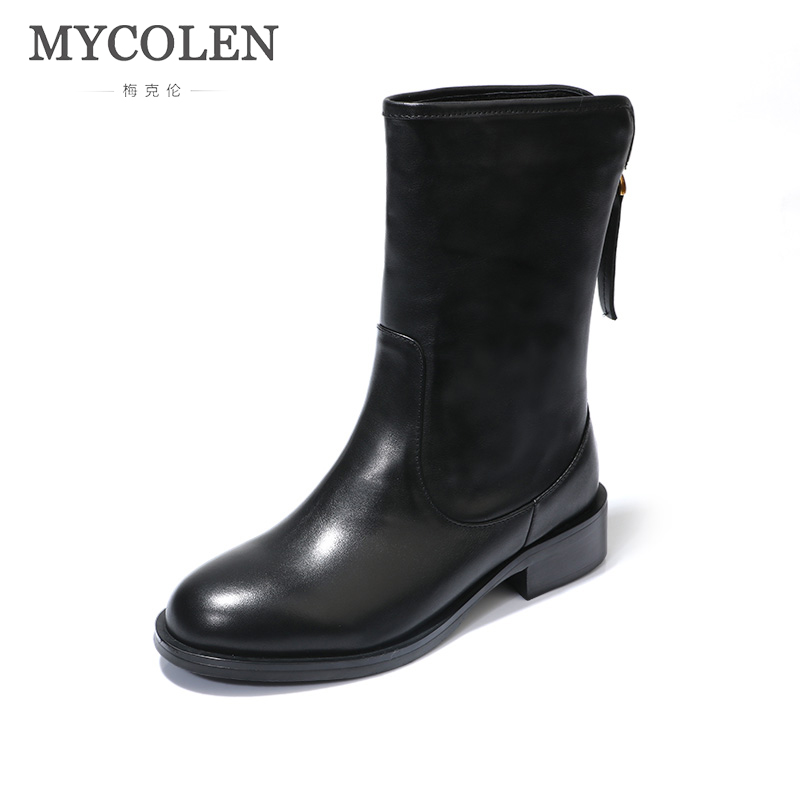 MYCOLEN New Fashion Comfortable Chelsea Boots Round Toe Heel Zipper Low Heels Women Boots Fashion Winter Short Ankle Boots zorssar 2017 hot new women boots fashion retro genuine leather high heels ankle boots round toe zipper thick heel short boots
