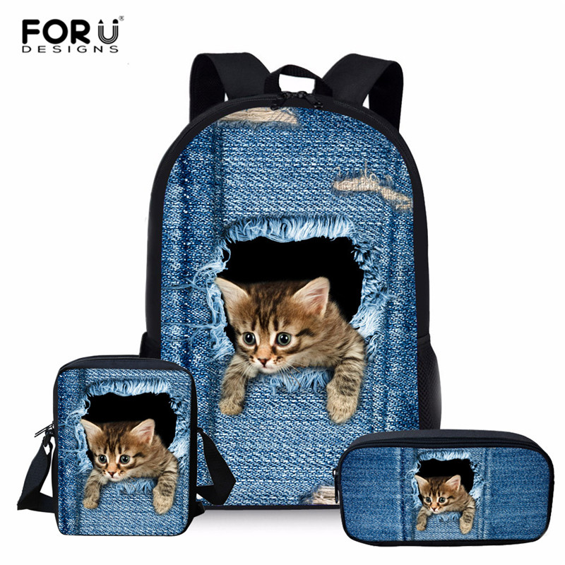 FORUDESIGNS 3pcs School Bag Set Children Backpacks For Girls Boys Denim Cat Printed Backpack Toddler Kids School Bags Mochila