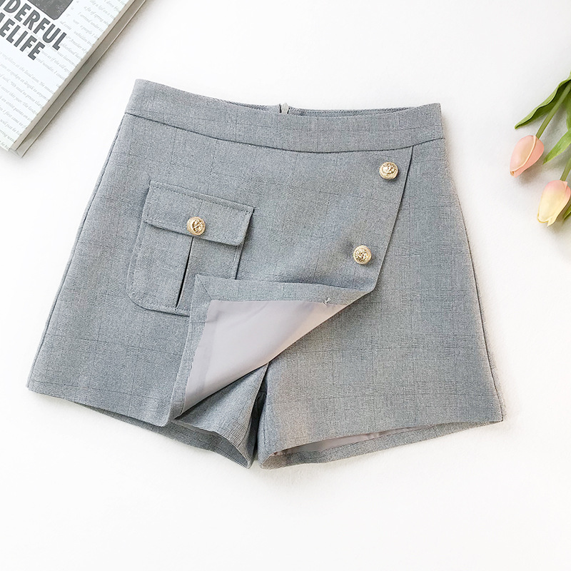 2019 Spring New Arrival Black High Waist   Shorts   With One Pocket & Buttons Decorated Safari Style   Shorts   Skirts Free Shipping