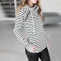 2017 Winter Womens Fashion Sweatshirts Ladies Hooded Striped Sweatshirt Long Sleeve With Zipper Thick Plus Sizes