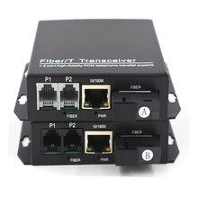 Extensores de telefone premium 2 canais pcm telefone de voz sobre fibra óptica até 20 km 10/100 mbps ethernet sc singlemode fibra