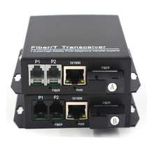 PREMIUM Telefoon Extenders 2 kanalen PCM Voice Telefoon over Glasvezel up 20Km 10/100 Mbps Ethernet SC Singlemode fiber