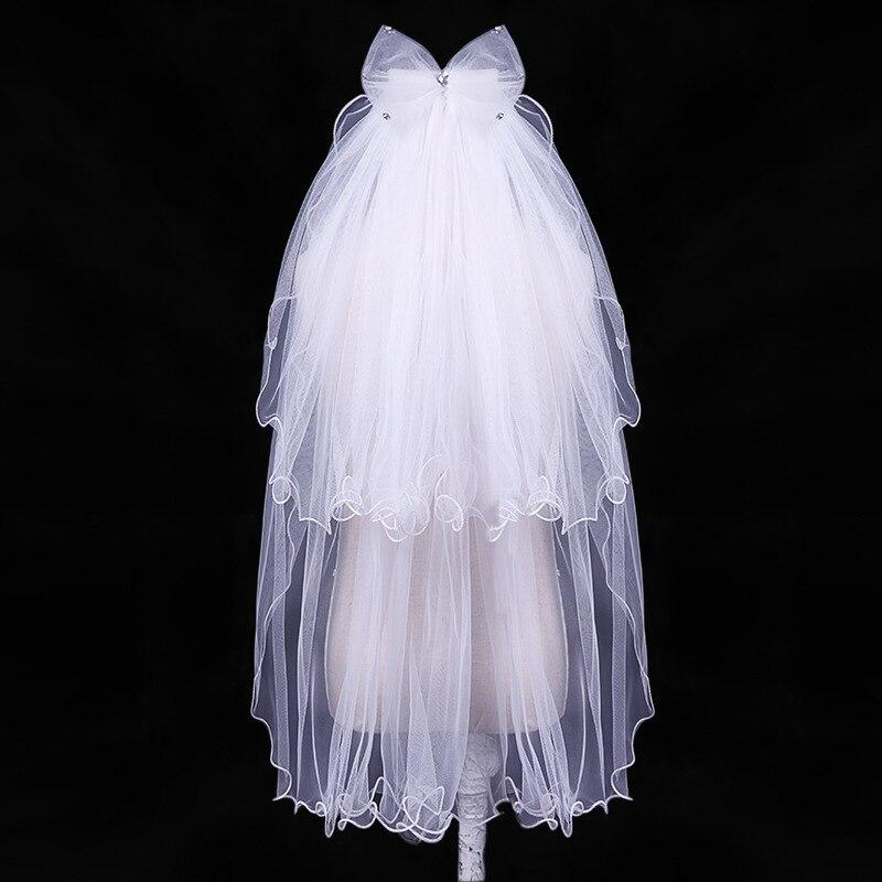 Großhandel Einfache Weiße Elfenbein Tulle Brautschleier Zwei Maß Braut Zubehör Heißer Verkauf 100% Garantie