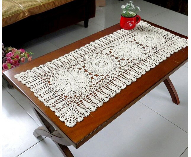 New Christmas Gift Handmade Crochet Flowers Tablecloth Cotton Coffee