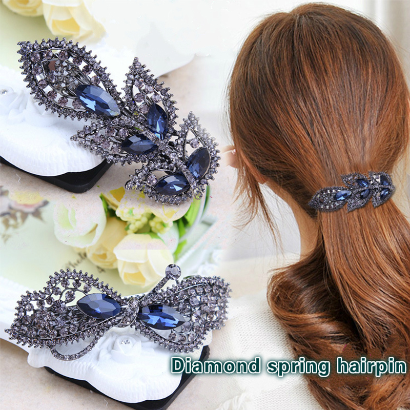 1Pcs Women Hair accessories Retro Rhinestones Hair Clip Peacock Butterfly Crown HairPins Barrette Crystal Spring clips for girls retro vintage women ladies girls hair clips crystal butterfly bowknot hairpins hair accessories
