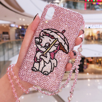 For iPhone XS Max Luxury Marie Cat Bling Crystal Diamond Cover for iphone XR XS Max X 6 6S 6SP 7 7P 8 8plus czech stones case