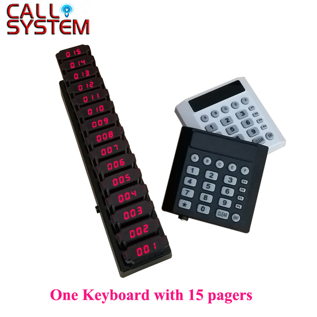 15 Coaster Pagers+1 Keypad Transmitter Pager Restaurant Wireless Calling System