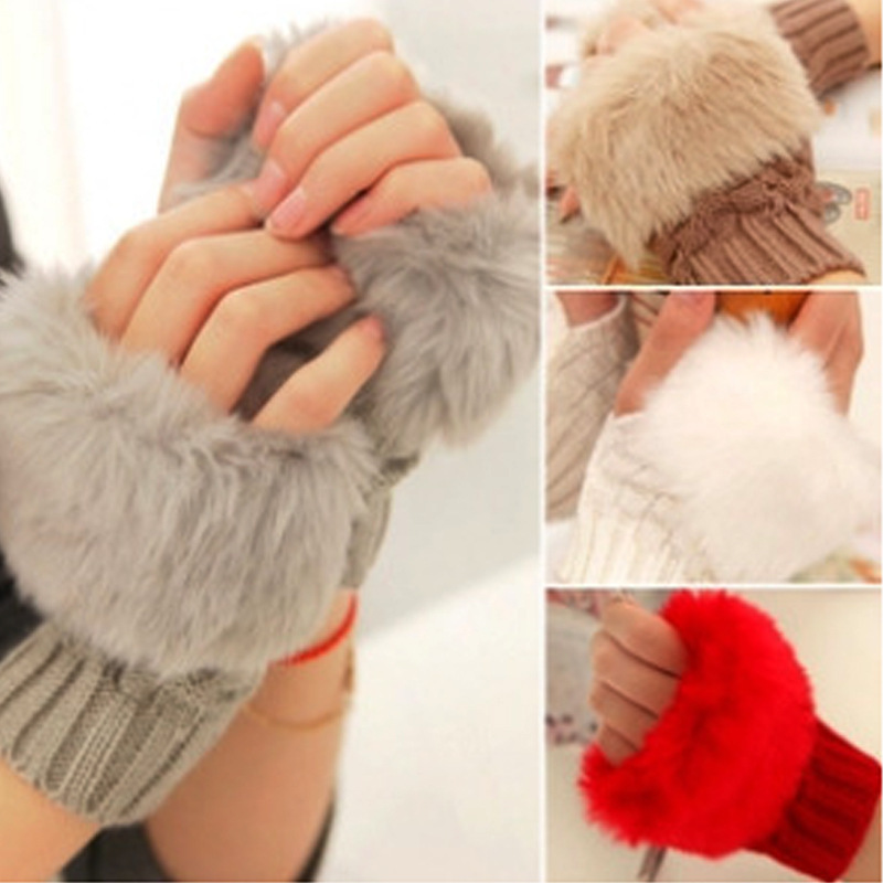 Cute Warm Gloves Hot Pretty Faux Rabbit Hair Wrist Warmer Knitted Women Winter Fingerless Gloves MSK66