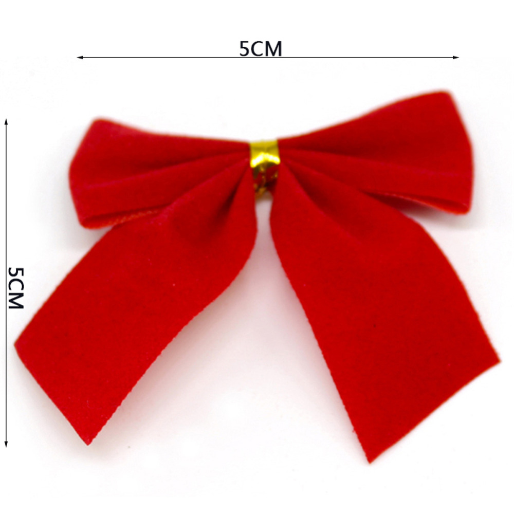 120 Pcs / Lot Red Christmas Tree Tie On Bow Decorations