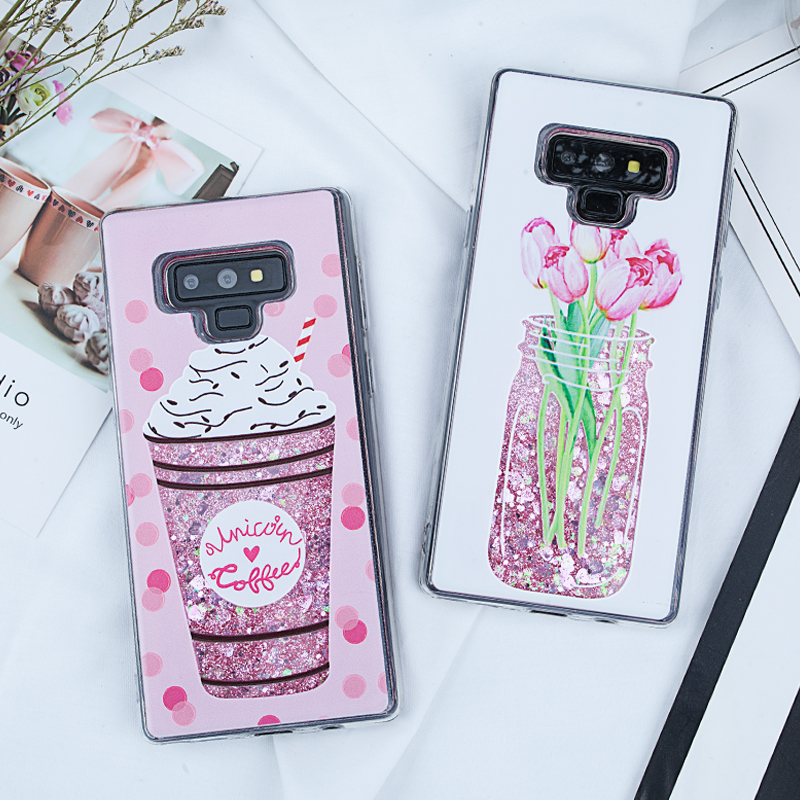Image 2 - Liquid Quicksand Glitter Case for Samsung Galaxy Note 9 A5 2017 S8 S9 Plus J5 J7 J3 2016 A3 A7 2017 S7 Edge A8 Plus 2018 Covers-in Fitted Cases from Cellphones & Telecommunications