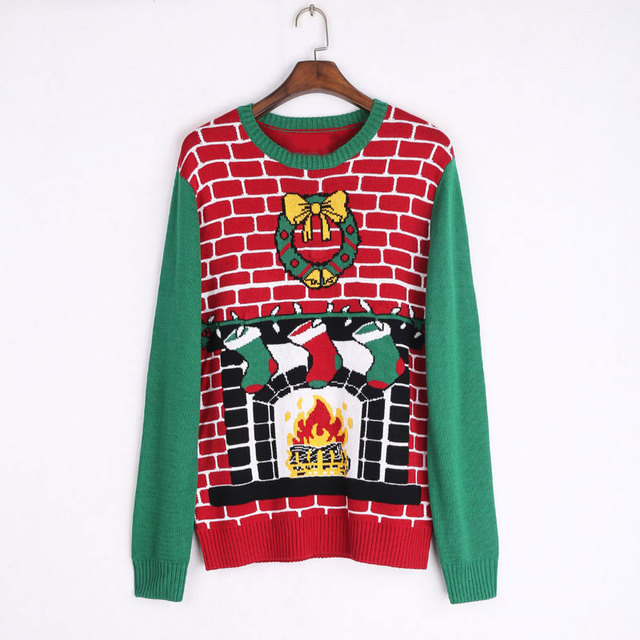 2017 ugly christmas sweaters women cute pattern knitted christmas socks long jumper pullovers for winter autumn - Cute Ugly Christmas Sweater