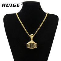 2017 Hip Hop Gold Plated Iced Out Rhinestone Pyramid Pendant Necklace Stainless Steel Black Power Fist