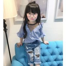 Купить с кэшбэком Kids Blouse Girl Cotton Striped Blouses for Girls 2018 New Autumn Short Sleeves Shirts for Girl Sweet Children Clothing 3bs027