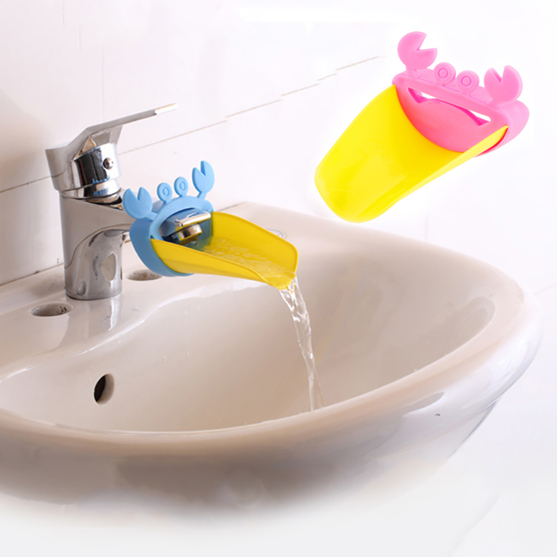 1Pc Cute Bathroom Sink Faucet Extender Crab Children Kids Washing Hands Convenient Washing Helper Kitchen Bathroom Accessories