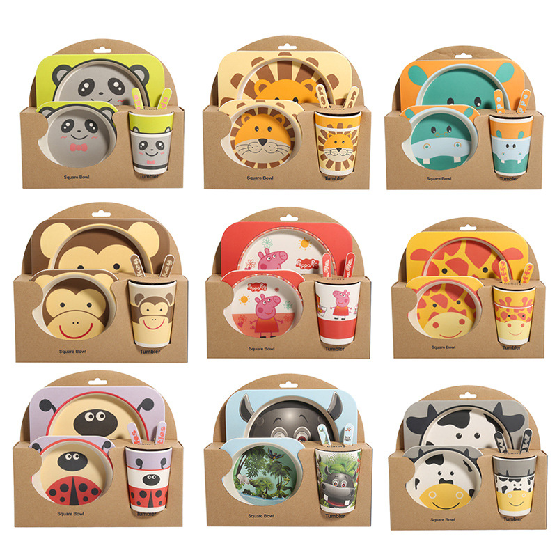 Lekoch 5pcs/set animal zoo baby Plate bow cup Forks Dinnerware feeding Set 100% bamboo fiber Baby children tableware set
