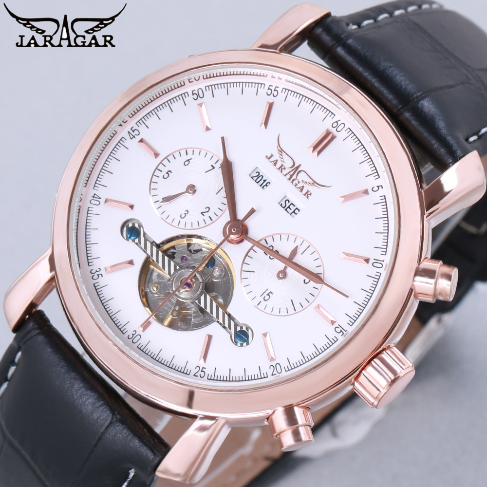 JARAGAR Full Calendar Tourbillon Auto Mechanical Mens Watches 2018 Top Brand Luxury Wrist Watch erkek kol saati Montre Homme forsining full calendar tourbillon auto mechanical mens watches top brand luxury wrist watch men erkek kol saati montre homme