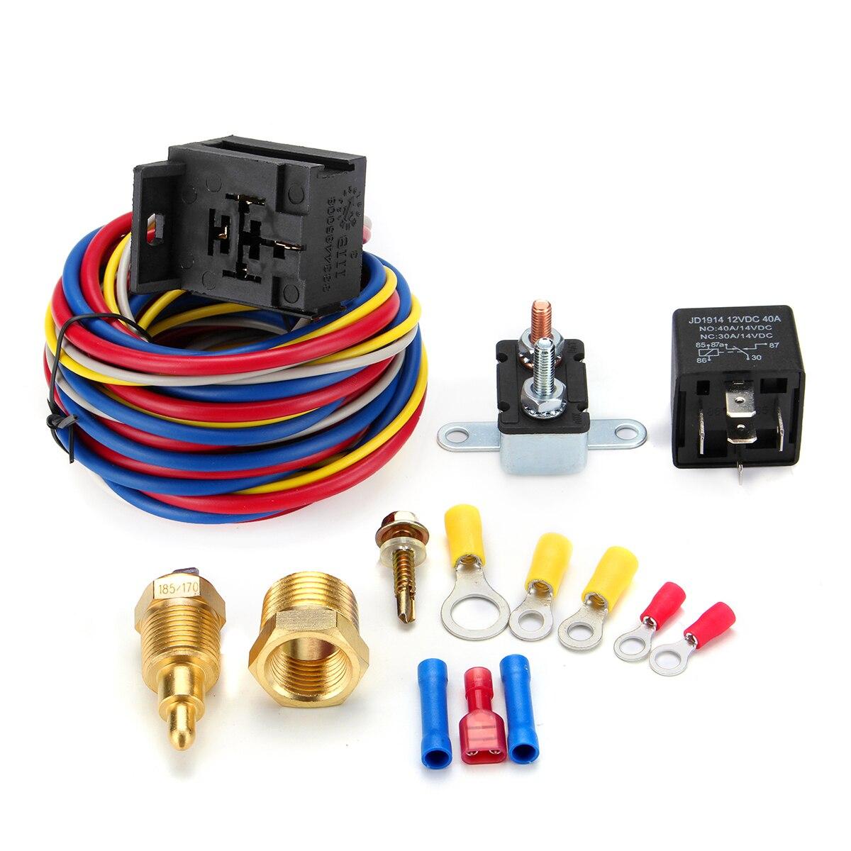 Sale Heavy Duty Auto Car Electric Fan Wiring Install Kit 185 170 Degree Thermostat Sensor 40a