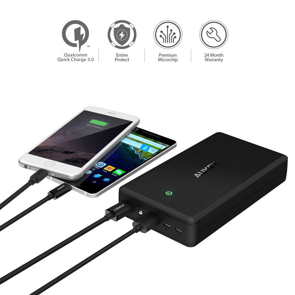 Powerbank Preis Us 68 45 Aukey 30000mah Power Bank Quick Charge 3 Usb Powerbank For Lightning Micro Usb Input External Battery For Iphone Xiaomi Etc In Power