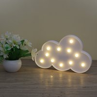 3D Marquee Cloud Night Lamp With 11LED Battery Operated White Cloud Letter Light For Christmas Decoration