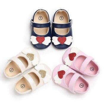 Baby Shoes First Walker Toddler Autumn Baby Girl Love PU Princess Soft Bottom Non-Slip Toddler Shoes New Princes Shoes Baby's First Walkers