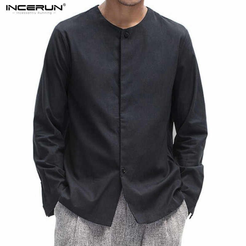 f8c79937534b011 2018 INCERUN для мужчин Традиционный китайский стиль Тан костюм из хлопка и  льна с длинным рукавом